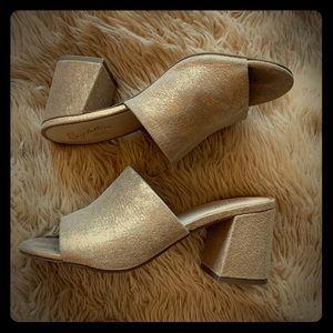 Seychelles gold block heeled sandals